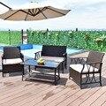 Giantex 4 Unid muebles de jardín al aire libre Patio transversal PE mimbre cubierta sofá de la Mesa de sillas con cojines HW55431