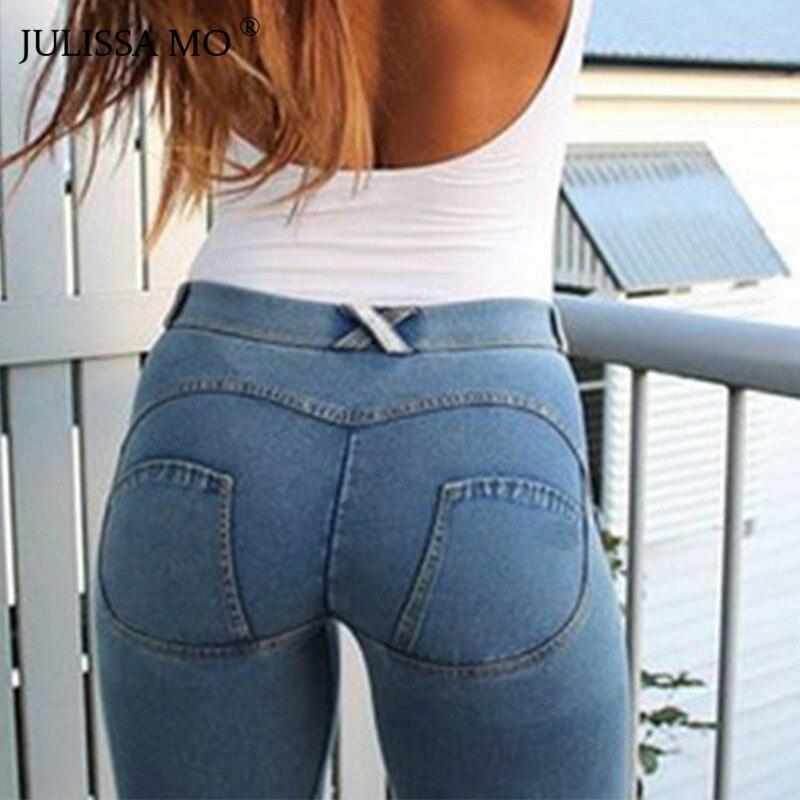 JULISSA MO Mulheres Hip Skinny Jeans Stretch de Cintura Elástica Cheia Nova Moda 2018 Outono Inverno Jeans Sexy Lápis Calças Leggings