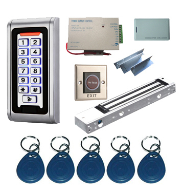Proximity Card Standalone Access Control Kits/5pcs keyfobs+5pcs cards, Metal Keypad,Magnetic Lock 5pcs bs250 to92