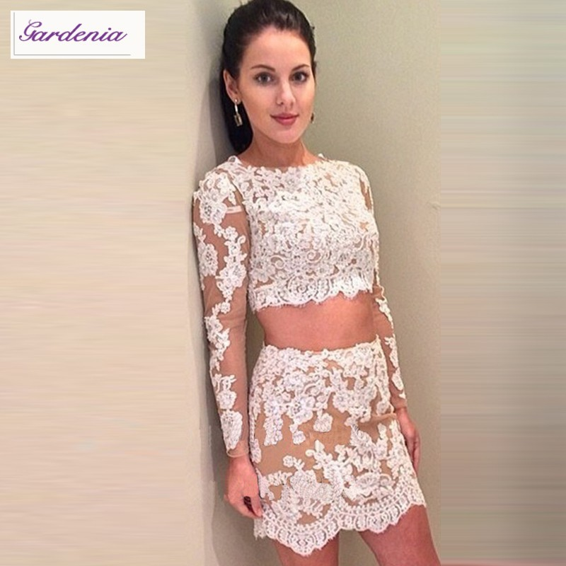 2 Piece Homecoming Dress Long Sleeve Lace Appliqued Tulle ...