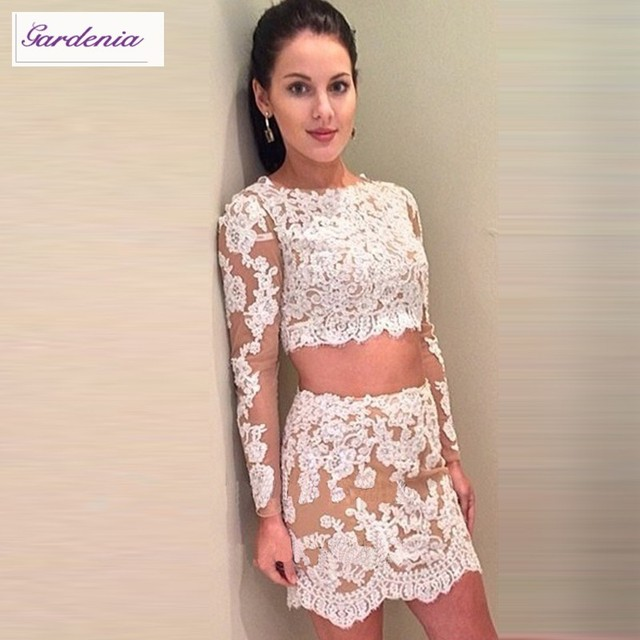 715878a79b8 2 Piece Homecoming Dress Long Sleeve Lace Appliqued Tulle Tight Short Two  Piece Homecoming Dresses 2015