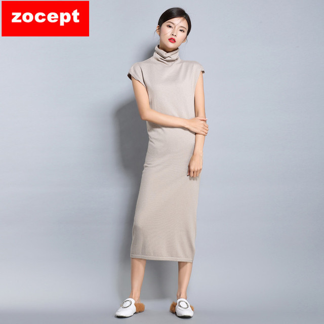zocept Spring New Cashmere Blend Dress Women Turtleneck Knitted Sleeveless Clothing 2017 Female Fashion Soft Comfortable Dresses