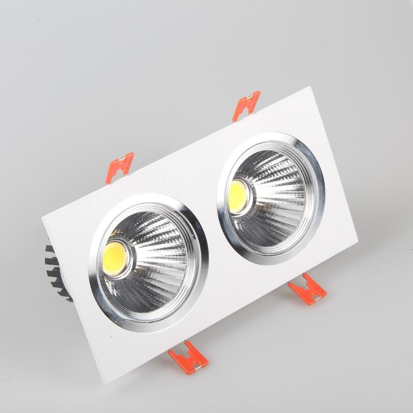 Prix de gros 2*10 W Dimmable Double COB LED vers le bas lumière encastré blanc shell COB LED plafonnier AC85-265V