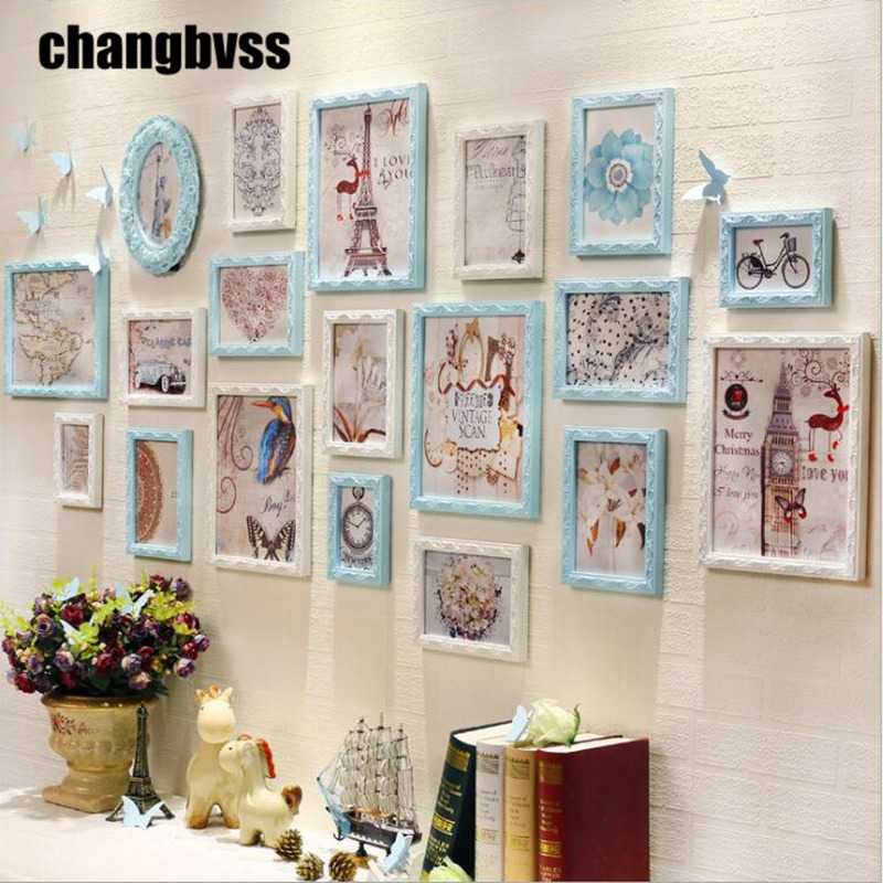 Blue White Romantic Wedding Room Photo Frame Wall European Style 19PCS Creative TV Sofa Background Picture Frames Combination