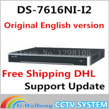 IN Stock free shipping DHL english version DS-7616NI-I2 2SATA 16ch NVR supporting third-party camera,plug& play H.265