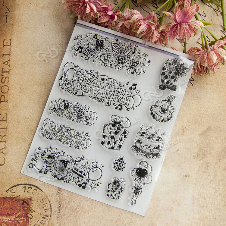 Scrapbook DIY photo cards account rubber stamp clear stamp seal happy Birthday transparent silicone Handcrafted art stamps 3d laser cut pop up greeting cards happy birthday postcards vintage chic retro peacock thank you gift message cards for girl