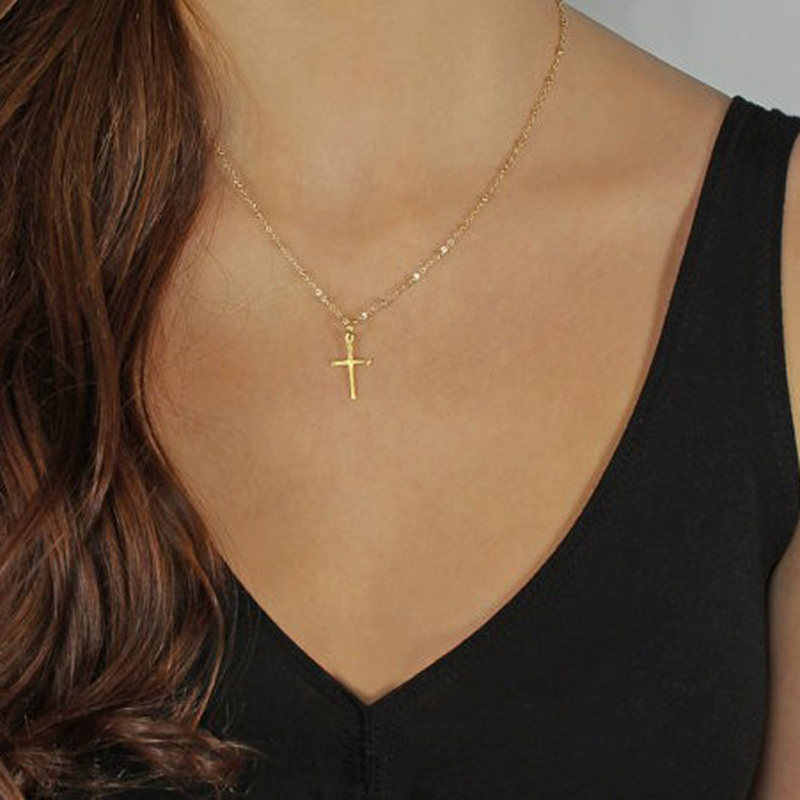 2019 Summer simple Gold silver Chain Cross Necklace Small Gold Cross name necklace Religious Jewelry personalized necklace