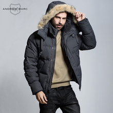 ANDREW MARC MNY 2016 Men Cold Winter Duck Down Jacket Overcoat Hooded Brand Parkas Down Outwear Downs TM6AE173