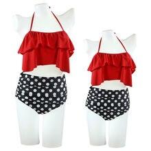 LISM Swimsuit Girl 2019 Red Bikini Child Solid Lotus Leaf Halter swimwear retro Flounce High Waist bathing suit beachwear