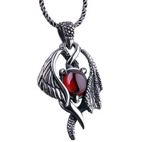 Angel wings silver pendant necklace goths male vintage 925 thai silver pendant pure silver
