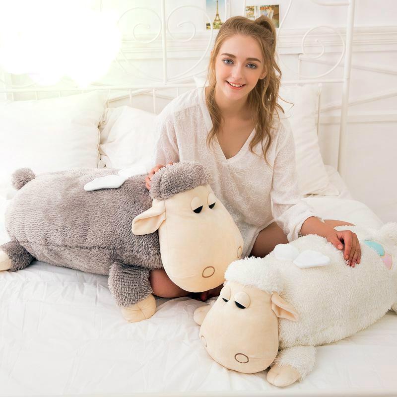 Mignon 1 pièces grande taille 55 cm/70 cm mouton en peluche doux peluche alpaga poupée grand oreiller coussin enfants jouet filles cadeaux d'anniversaire