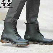 wenjie brother Martin rain boots men's matte non-slip wear-resistant rain boots PVC rubber shoes casual short water rain shoes цена