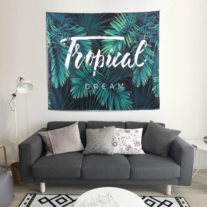 Décoration d'intérieur tapisserie murale Cactus 3D Impression suspension art Vert Tapisserie Banane feuilles Indien Boho Mur Hippie Tapis Tapis Feuille