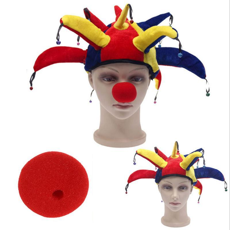 Clown Hat For Kids with Tie Funny Party Hat 2Pcs Kid//Adult Clown Costume