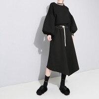 ARANSUE women spring 2019 Asymmetrical skirts New autumn black long skirt longuette falda free shipping