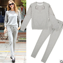 Hot sell latest autumn women leisure sports suit high quality suit hollow-out long-sleeved loose big yards Long pants suit G1244