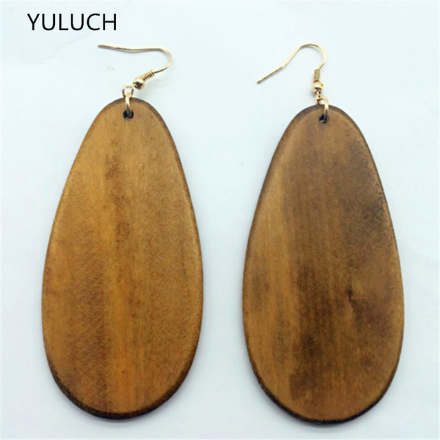 Fashion Latest African Hollow Good Quality Wood Earrings Jewelry Round Personality New Design