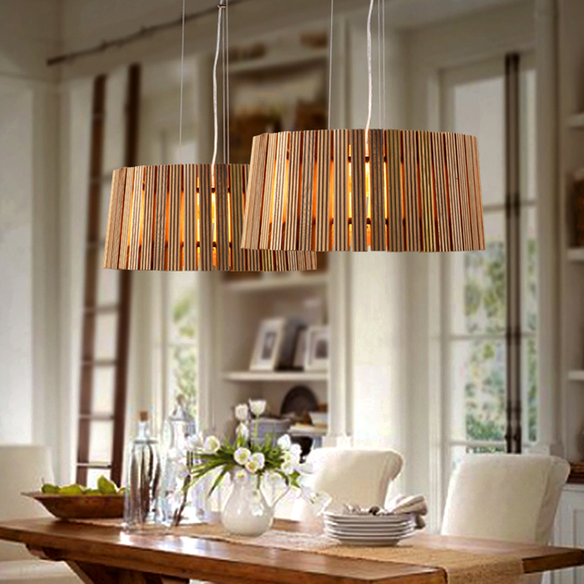 IKEA Wood Art Pendant Restaurant Personalized Living Room Hotel Bedroom Dining Chandelier Lamp Coffee Museum