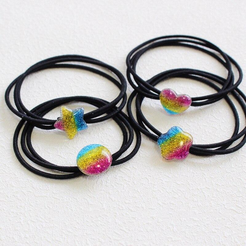 New Fashion Women Girls Cute Rainbow Colors Shiny Acrylic Hair Ties Love Heart Star Flower Round Shape Elastic Hair Bands
