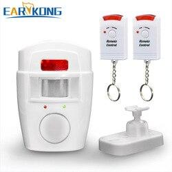 Segurança em casa pir mp alerta infravermelho sensor anti-roubo detector de movimento alarme monitor sistema de alarme sem fio + 2 controle remoto