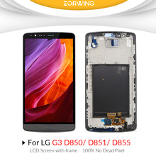 100% No Dead Pixel LCD Screen for LG G3 D850 LCD Display + Touch screen digitizer with frame assembly for LG G3 D851 D855 LCD