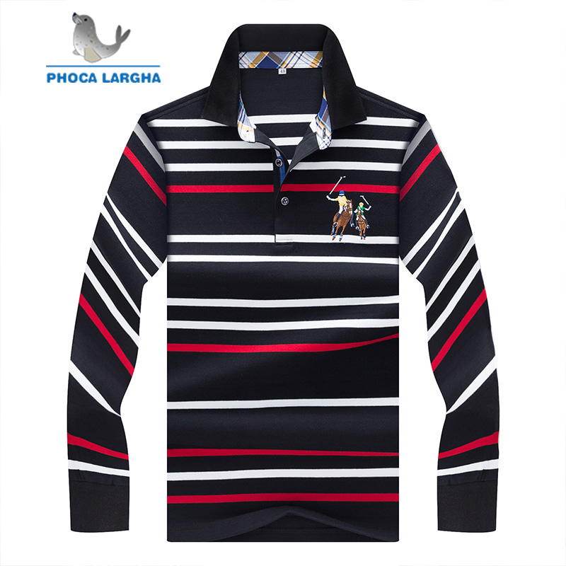 New Men's   Polo   Shirts Embroider High Quality Tops For Man Long Sleeve Shirts Striped Slim Fit Business Casual Brand   Polos   Male