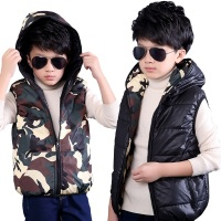 Autumn Winter Kids Boys Vest Down Jacket Colete Menino Camo Baby Girl Vest For Children Cotton Coat TZ149