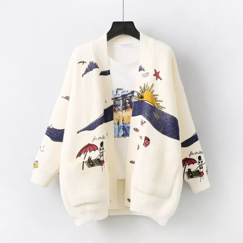 MUMUZI femmes dessin animé chandail Cardigan femmes imprimer veste manteau mode à manches longues mince Crochet tricot chandail automne hiver hauts