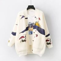 MUMUZI Women Cartoon Sweater Cardigan Women Print Jacket Coat Fashion Long Sleeve Slim Crochet Knit Sweater Autumn Winter Tops