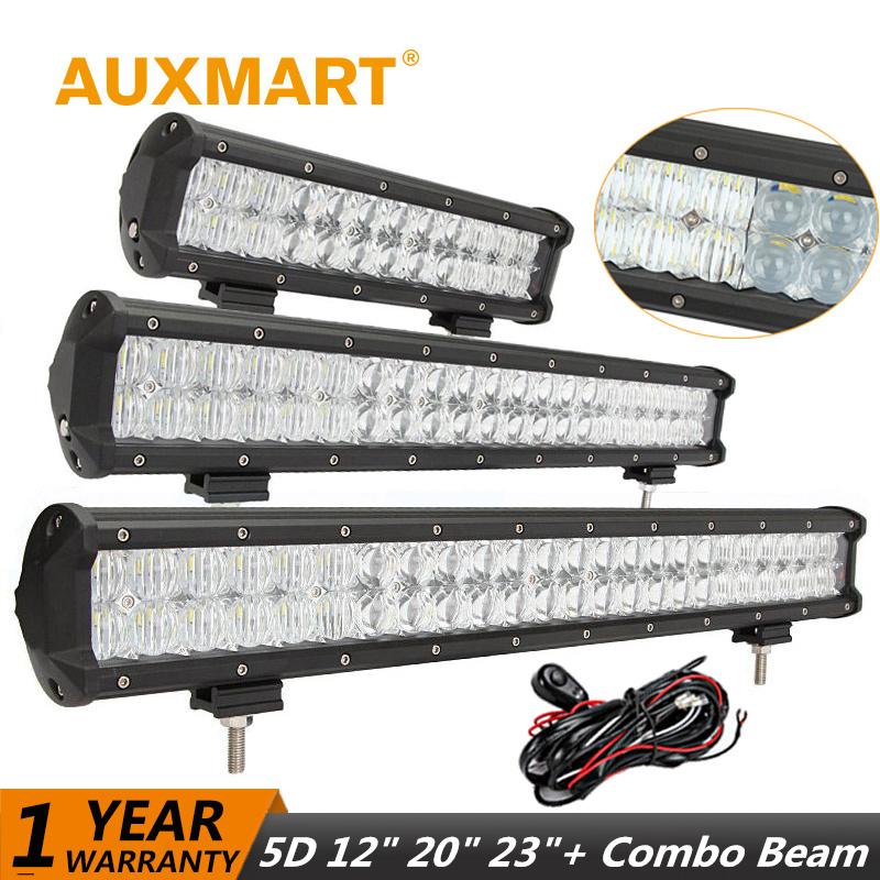 Auxmart LED Light Bar 5D 12 20 23 inch Offroad Driving 144W/126W/72W LED Work Light Bar Combo for Jeep 4x4  Truck SUV Pickup ATV 22 inch led bar offroad 120w led light bar off road 4x4 fog work lights for trucks tractor atv spot flood combo led lightbars