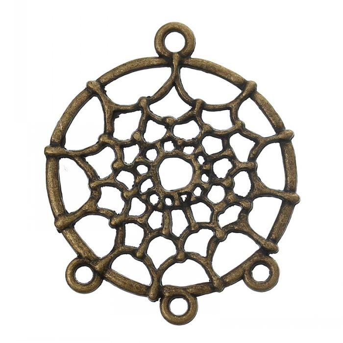 DoreenBeads Retail Connectors Findings Round Antique Bronze Hollow Spider Web Pattern 3.4cm X 2.8cm(1 3/8