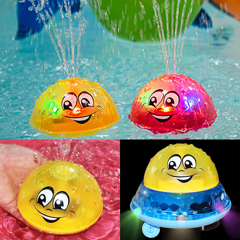 Baby Bath Toys Electric Inductive Water Spray Ball With Light Bathroom Bathtub Swimming Toys For Toddler Infant Children