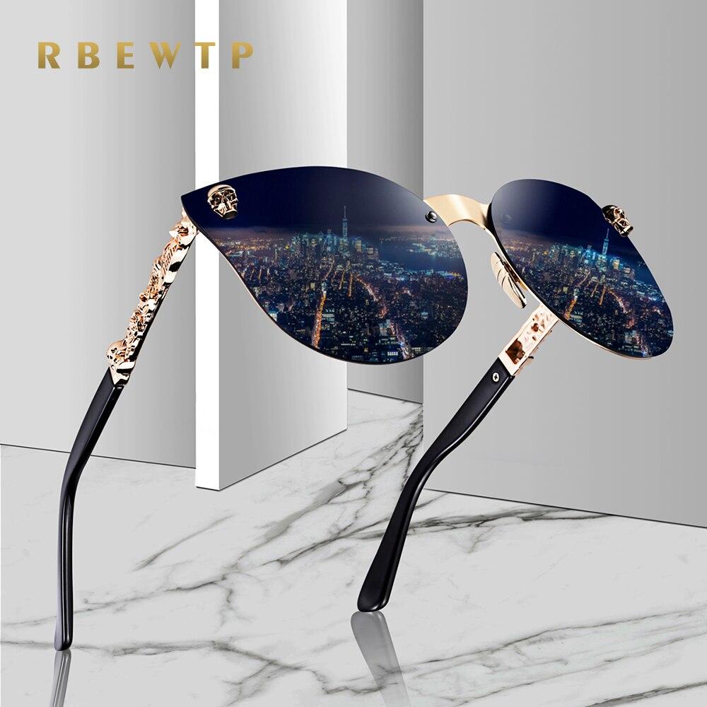 RBEWTP 2019 Fashion Women Gothic Sunglasses Skull Frame Metal Temple High Quality Gold Sun glasses Oculos De Sol Feminino Luxury