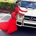 África sexy 2017 lace red feather sereia preto de baile menina dress com manga comprida com decote em v vestidos no tapete vermelho vestido vestido de festa dress
