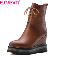 ESVEVA 2018 Women Boots Short Plush PU Cow Leather PU Ankle Boots Platform Wedges High Heel