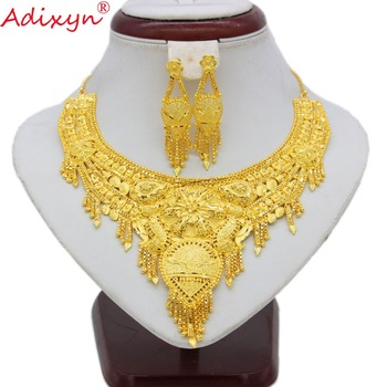 Adixyn Dubai Tassels Necklace&Earrings Jewelry Set for Women Gold Color Bling Hanging Jewelry Ethiopian Wedding/Party Item N7018