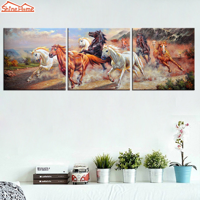 ShineHome 3pcs Wall Art Canvas Prints Oil Paintings Triptych Modular  Running Horses Pictures For Living