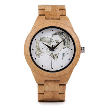Personalized Photo Print Customization Gift Wooden Watch