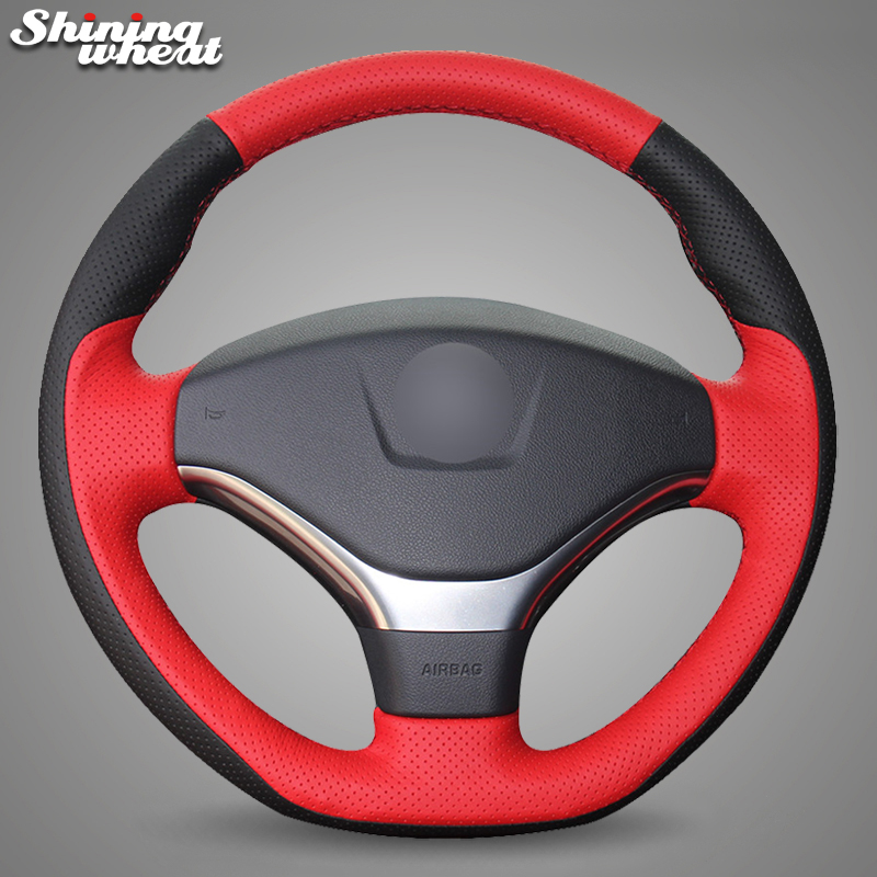 Shining wheat Red Black Genuine Leather Car Steering Wheel Cover for Peugeot 308 2012-2014 цена