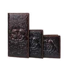 3D Animal Print Genuine Leather Men's Wallet Vintage Purse Male Carteiras Long Wallet Black Alligator Dragon Panda Short Wallets