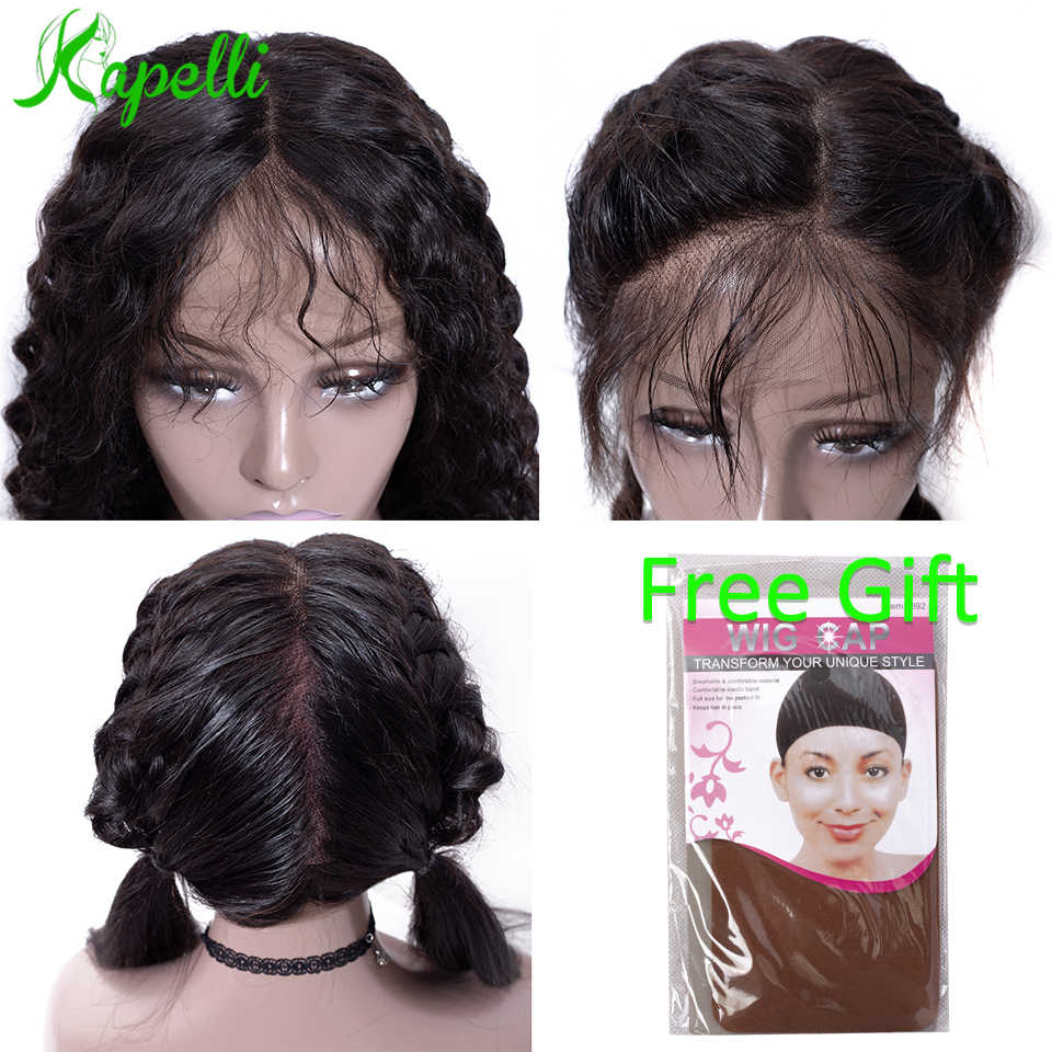 360 czołowa koronki peruki Pre oskubane z dzieckiem włosy głęboka fala krótki Bob brazylijski koronki przodu peruki z ludzkich włosów dla kobieta zamknięcie Remy włosy