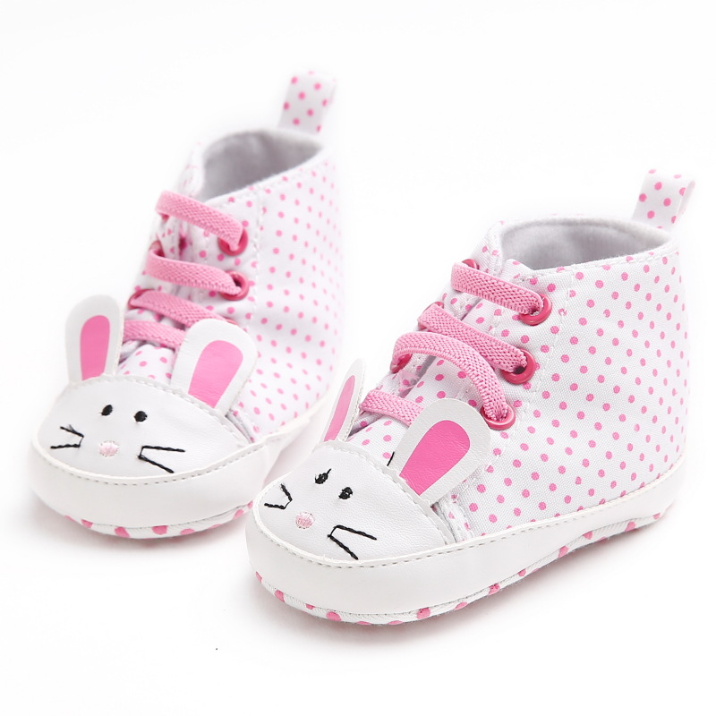 Cute Animal Style Mice Pink Polka Dot Baby Shoes Infant Girls Toddler Shoes First Walkers Sale Kids Fashion Sneakers