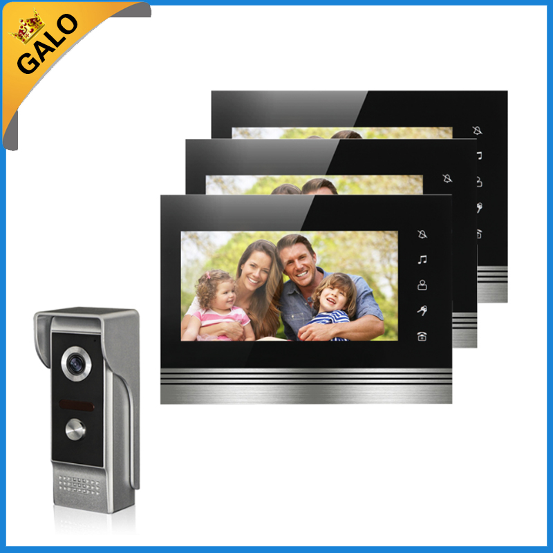 Wired Video Door Phone Intercom Doorbell System 7'' TFT-LCD Monitor Screen With IR COMS Outdoor Camera Video Door Bell 7inch video door phone intercom system for 10apartment tft lcd screen 10 flat indoor monitor night vision cmos outdoor camera
