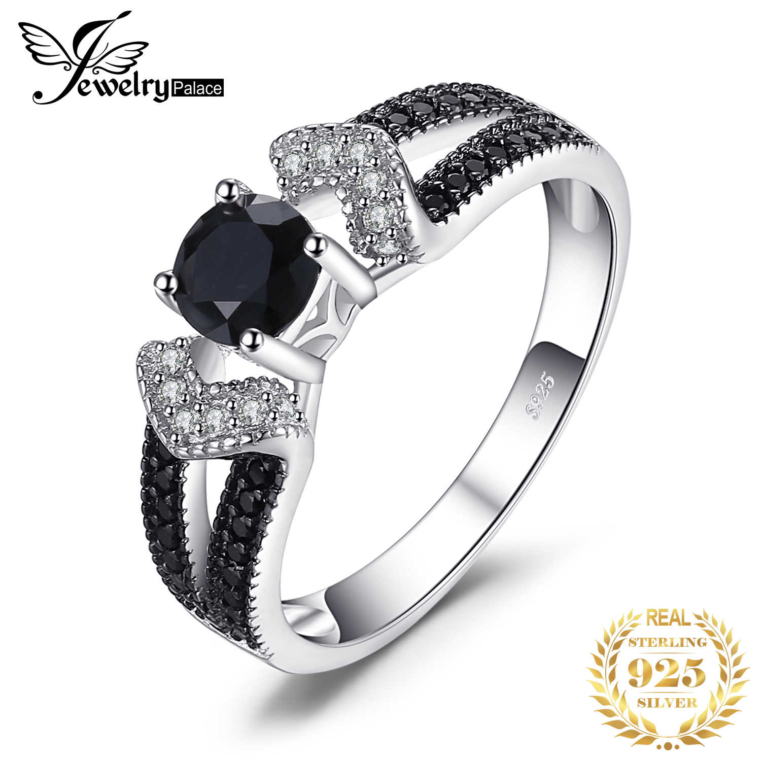 JewelryPalace Natural Black Spinel Statement Rings Authentic 925 Sterling Silver Rings for Women Wedding Engagement Fine Jewelry