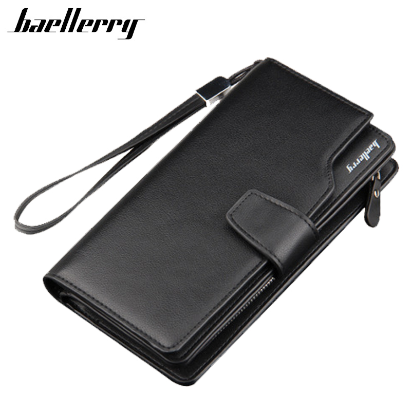 New Men Business Long Wallets 2017 Male PU Leather High Capacity Black Brown Clutch Wallet Card Holder Purses Handy Bag Carteras designer men wallets famous brand men long wallet clutch male money purses wrist strap wallet big capacity phone bag card holder