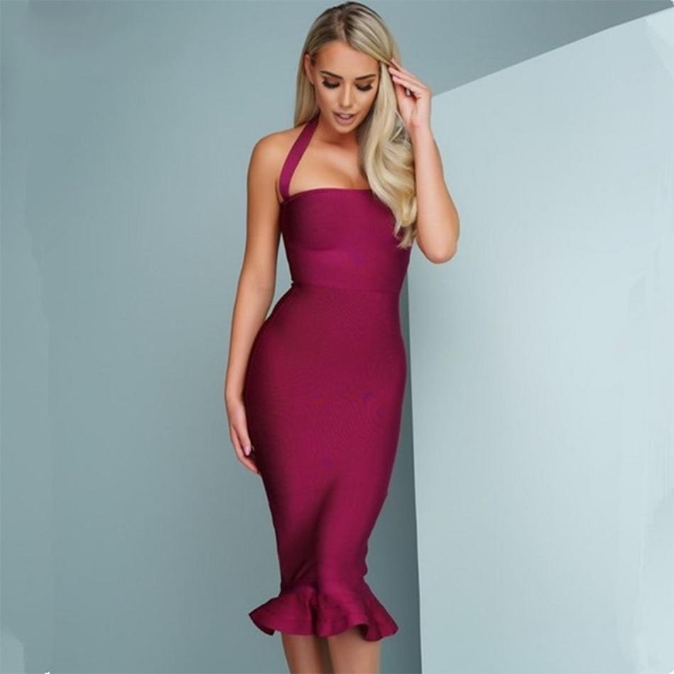 2017 New Women Party Bodycon Bandage Dress Sexy Wine Red Khaki Off ...