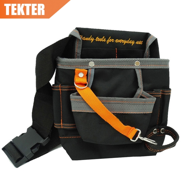 TEKTER High Quality 8 Pockets 600D Oxford Storage Bag Electrician Waist Tool Pouch holder work Belt 278g tool bag quality multi purpose s apron waist pouch bodypack hand packs pockets holders carriers oxford waterproof black