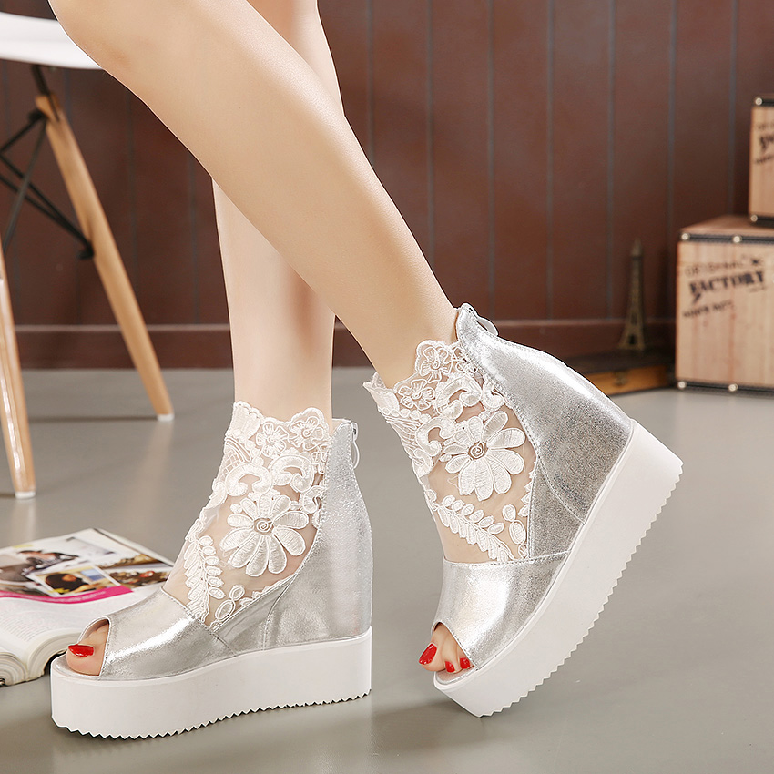 0874487ebe Newest white silver sexy lace platform wedge heels dress shoes wedding  shoes peep toe women shoes 3 colors size 34 to 39-in Women's Sandals from  Shoes on ...