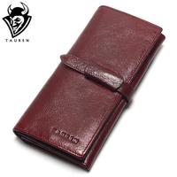 Tauren Retro Wine Red Color Wallets 100 Genuine Cowhide Leather High Quality Women Long Wallet Coin