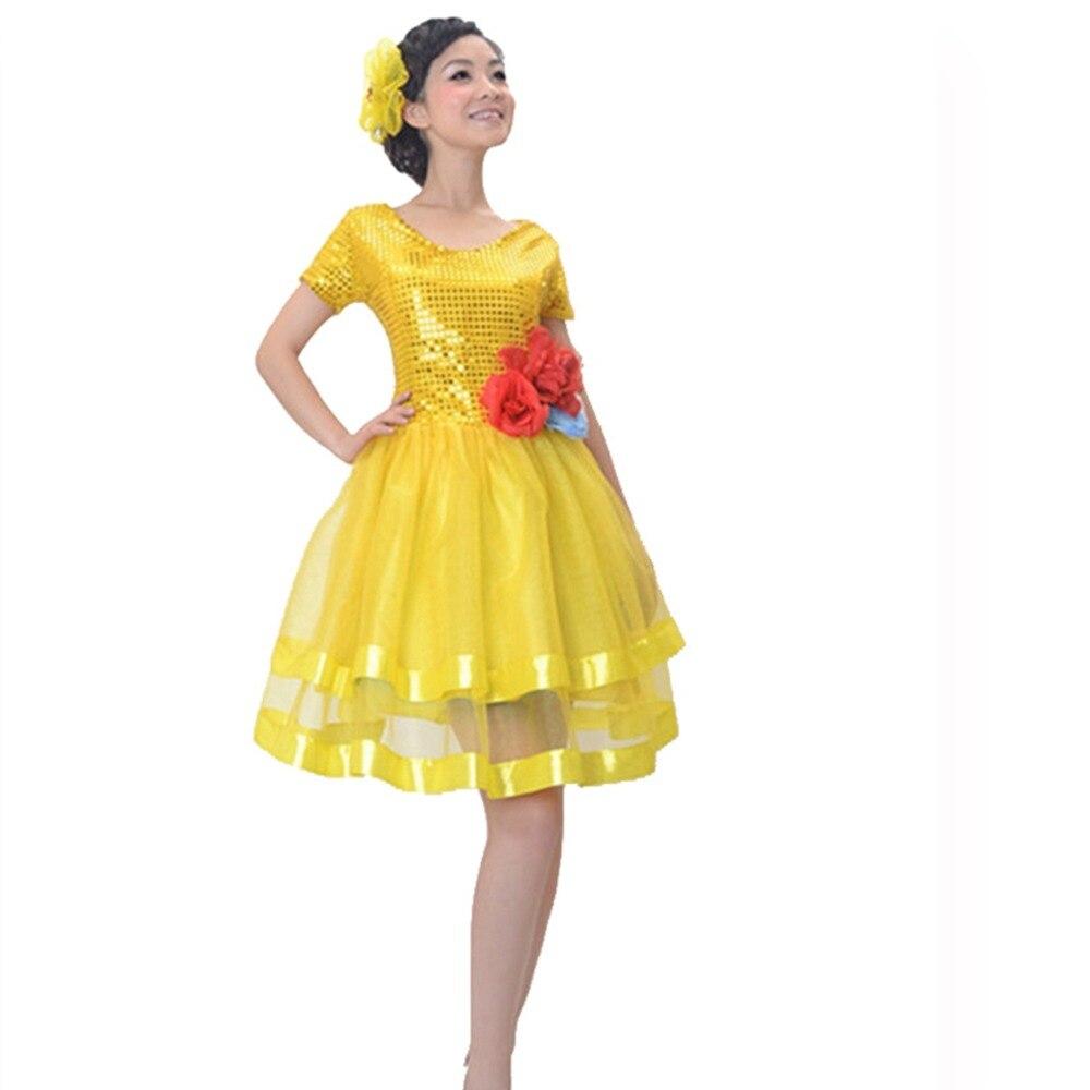 Paillette ballroom dance skirt national clothes costume fan younger performance wear drum